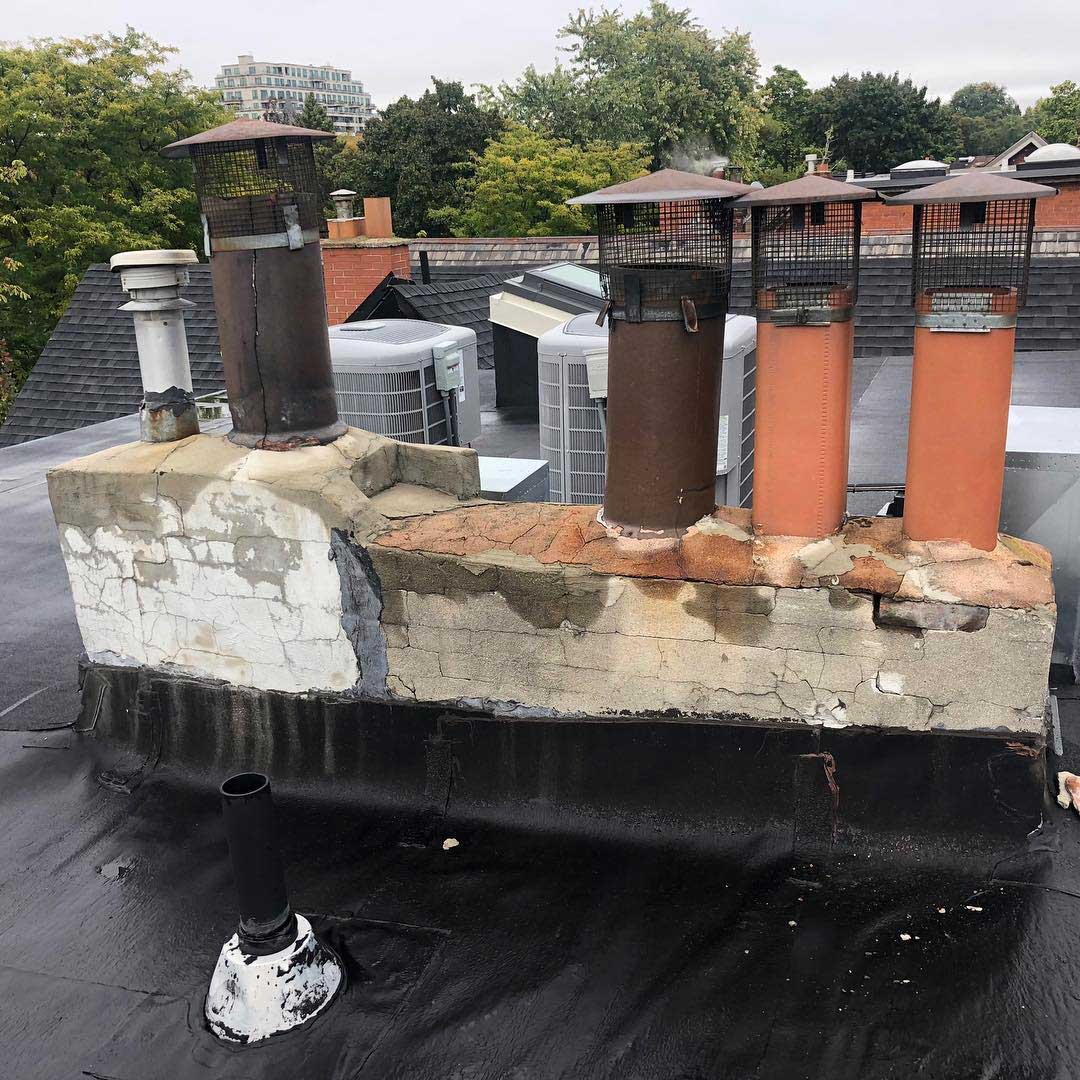 A 6 flue Chimney in need of a rebuild